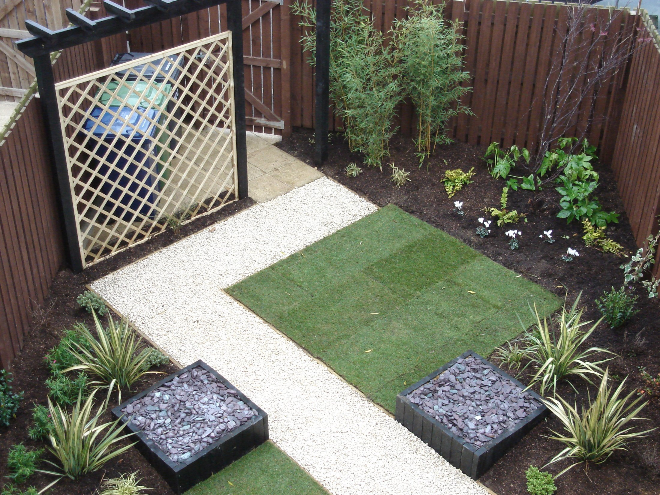 Simple clean garden design in Little Paxton, Cambridgeshire