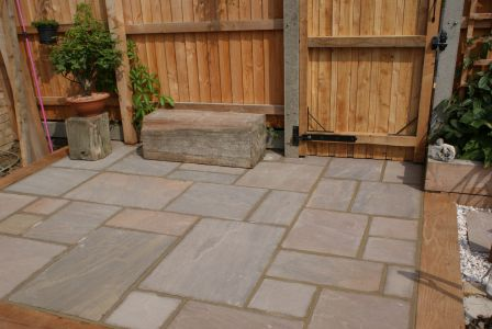 Small natural stone patio