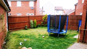 Before photo showing a scruffy unattractive small garden