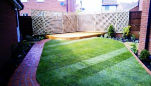showing the garden after it has been landscaped