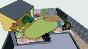 3D view of a garden design