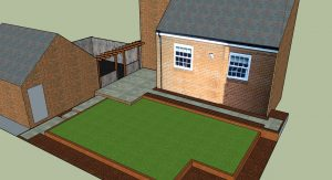 a 3d drawing showing how the new garden is split into 3 different levels.