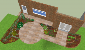 Garden design drawing in 3D
