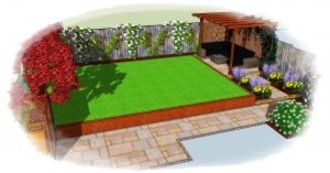Sloping garden design, new build home
