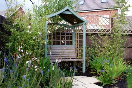 Garden seat with herbaceous planting design